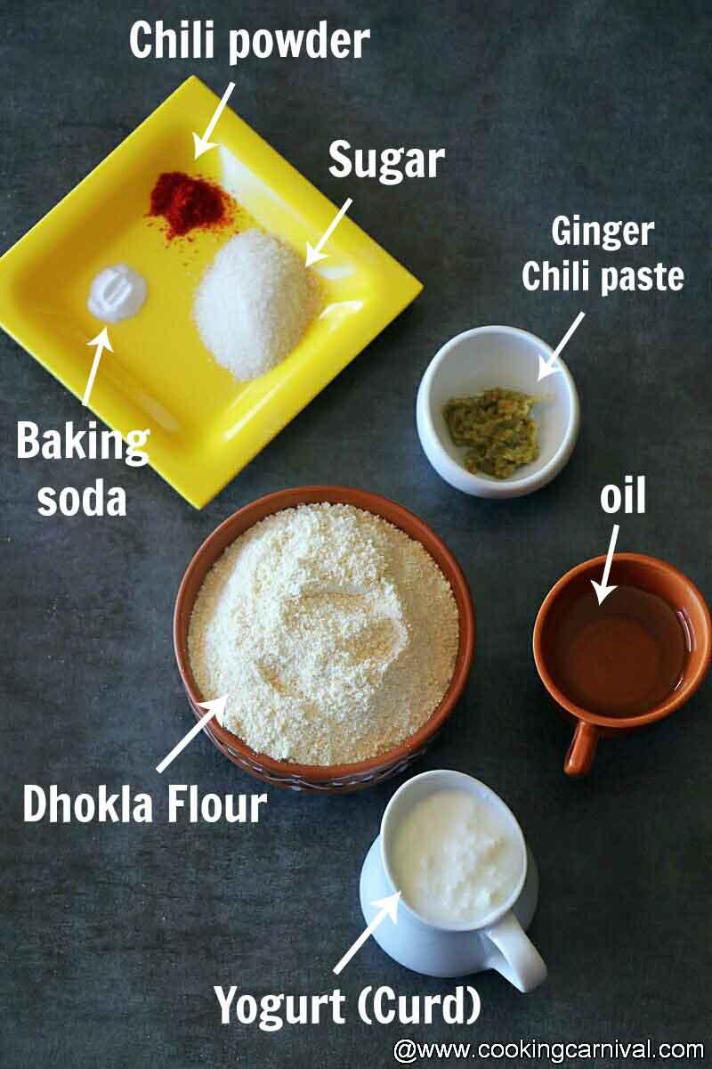 Pre-measured ingredients on a black tile
