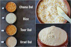grinding lentil rice mixture