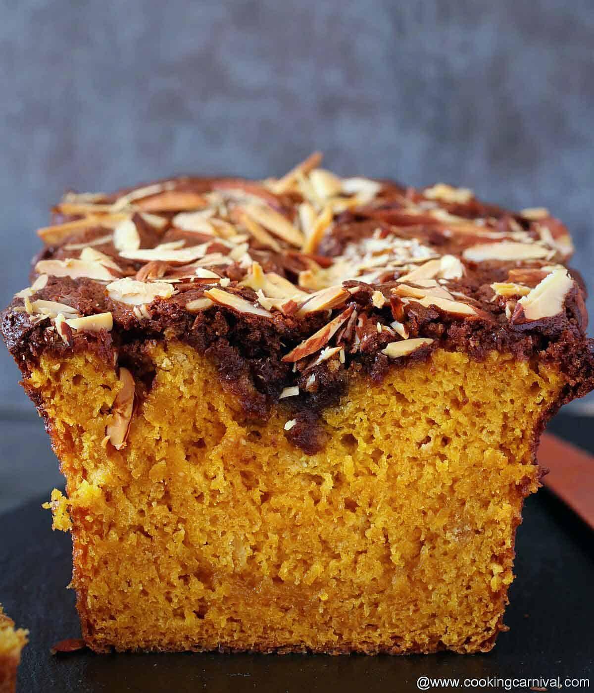 pic showing inside of mango loaf cake