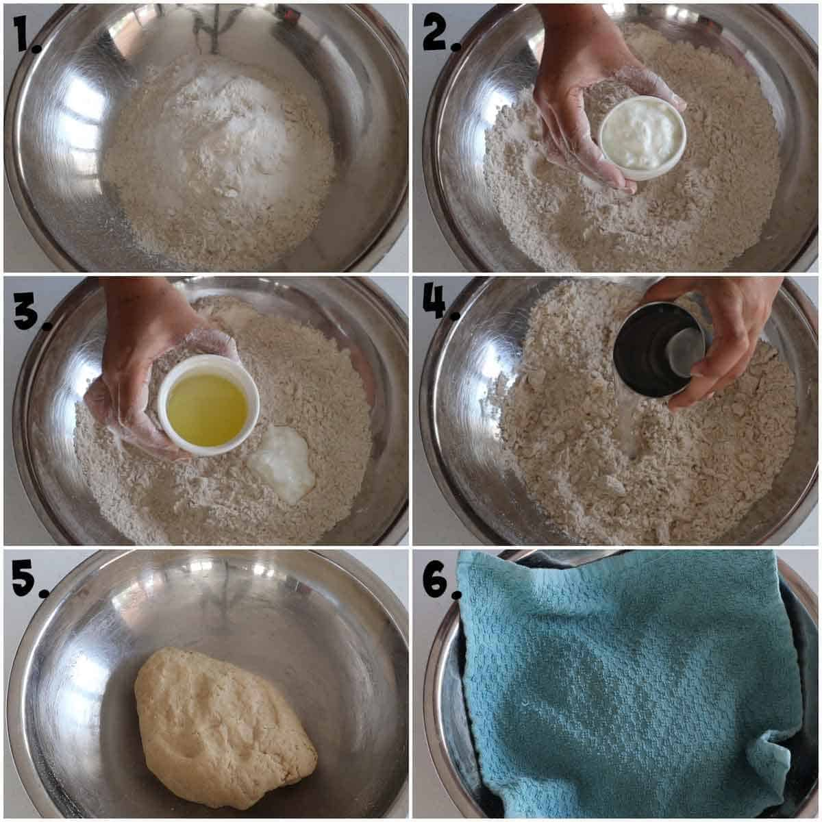 adding flour, baking powder, baking soda, oil, yogurt, and water in a bowl and kneading a dough