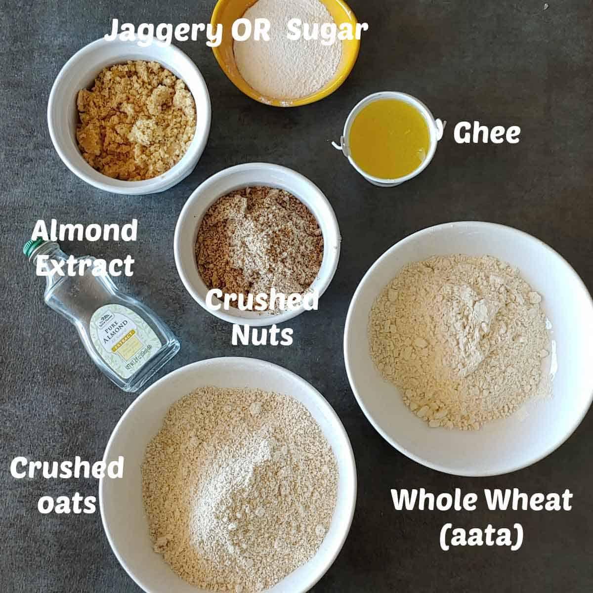 Pre-measured ingredients to make aata cookies