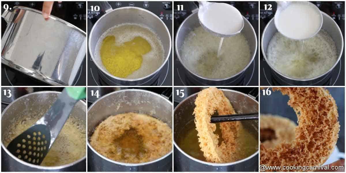Process shots of frying ghevar
