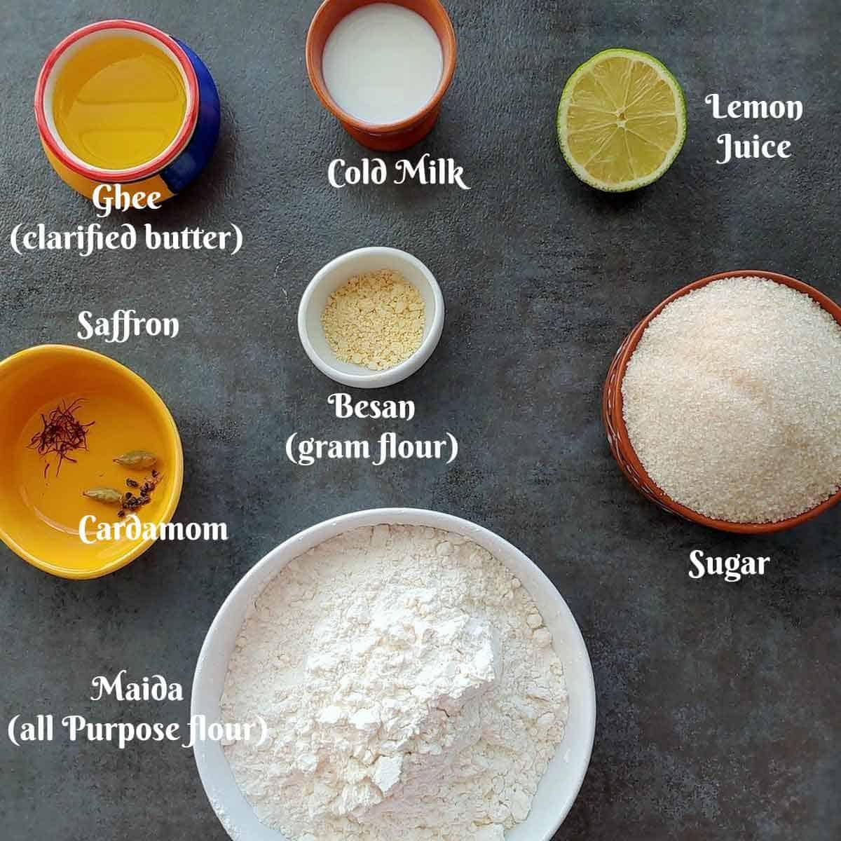 Pre measured ingredients for ghevar