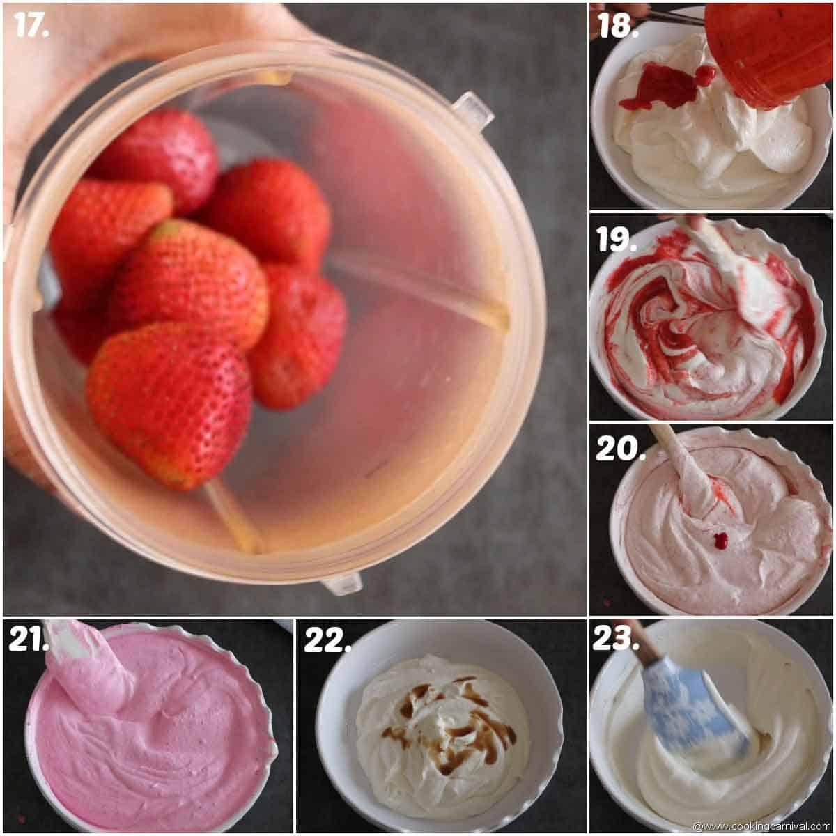 vanilla ice cream and strawberry ice cream in making