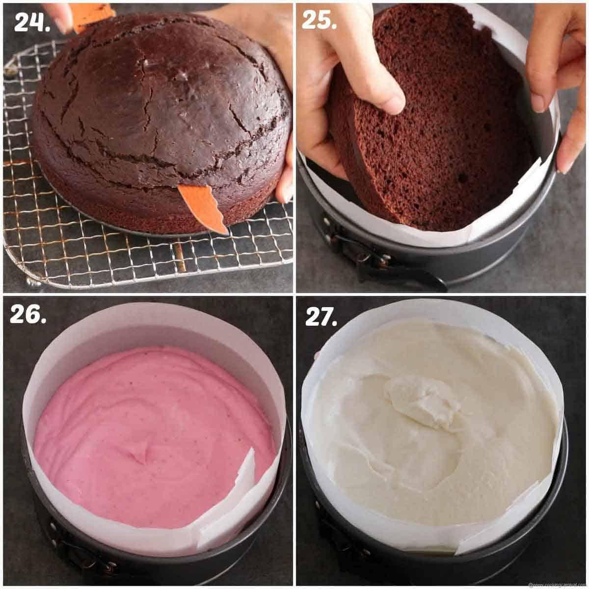 Layering the ice cream cake