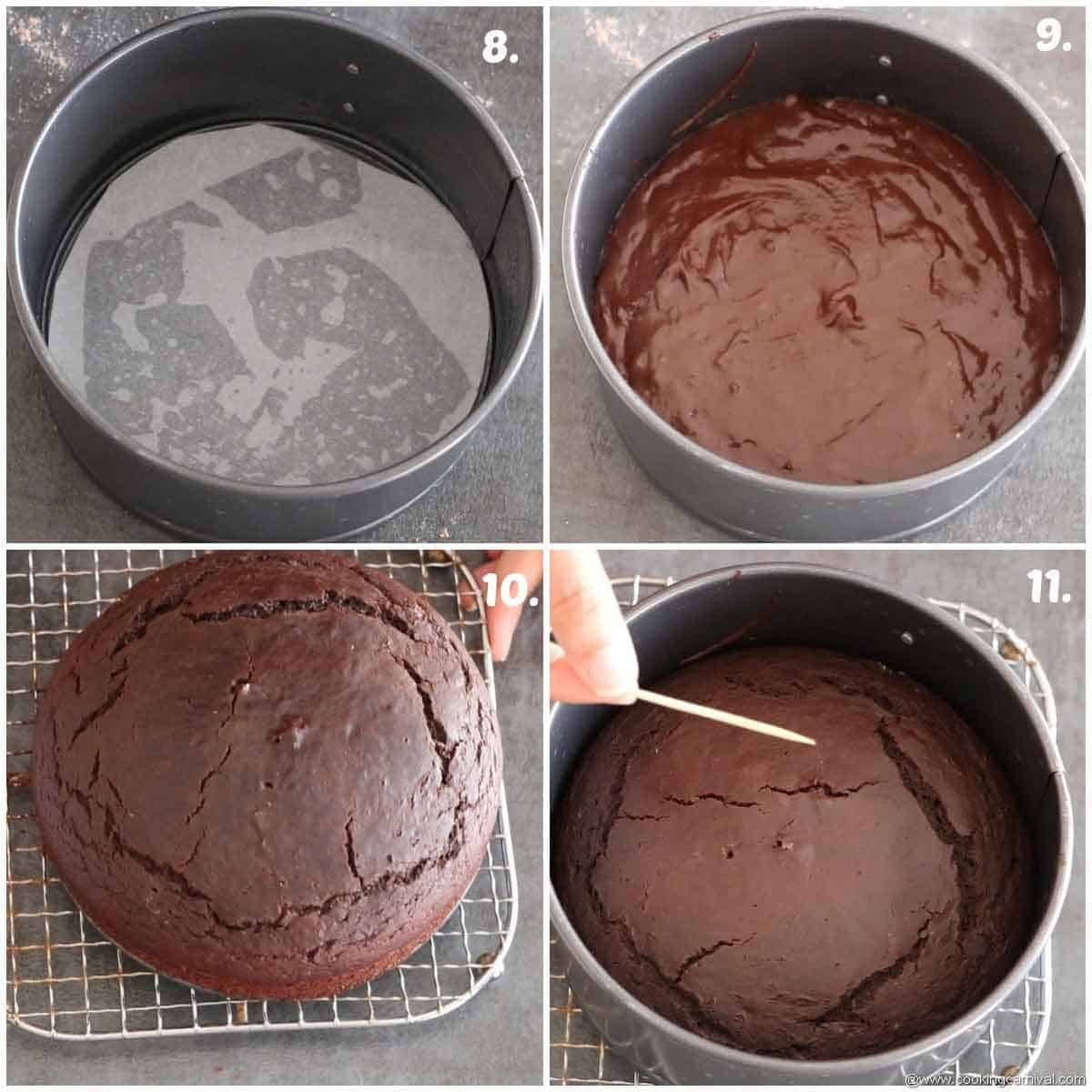 Baking chocolate cake in oven