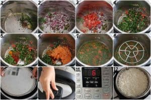Adding ingredients in instant pot to make dal palak
