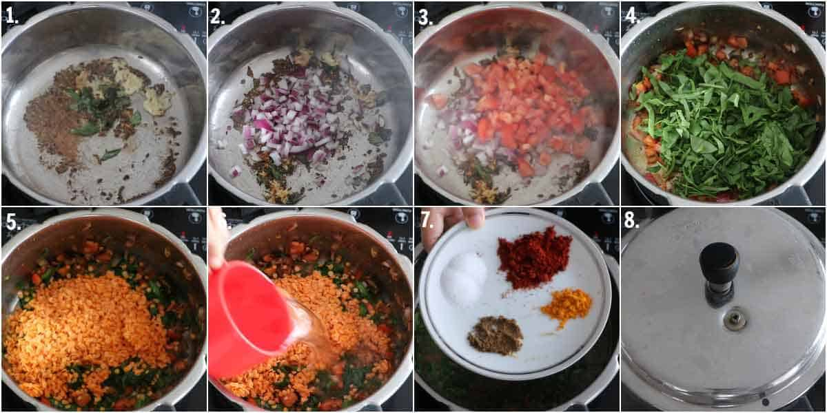 Sauteing cumin seeds, garlic, ginger, curry leaves, tomato, onion in ghee, cooking dal in pressure cooer