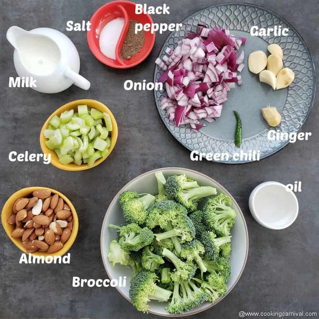 Pre-measured ingredients for broccoli almond soup