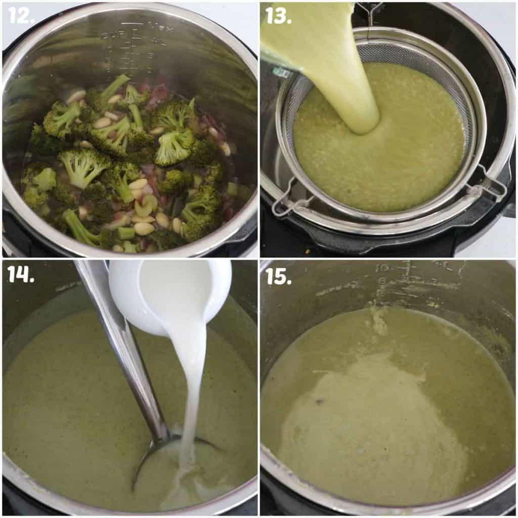blending creamy broccoli soup and adding milk