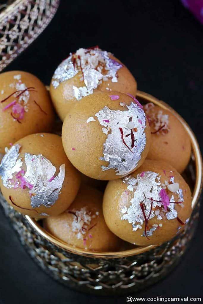 Close up shot of Besan laddu (indian sweet)