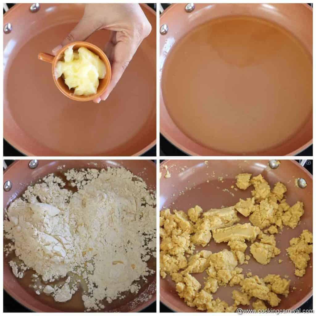 Roasting besan for laddu in ghee