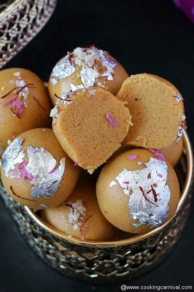 Showing texture of besan laddu form the center
