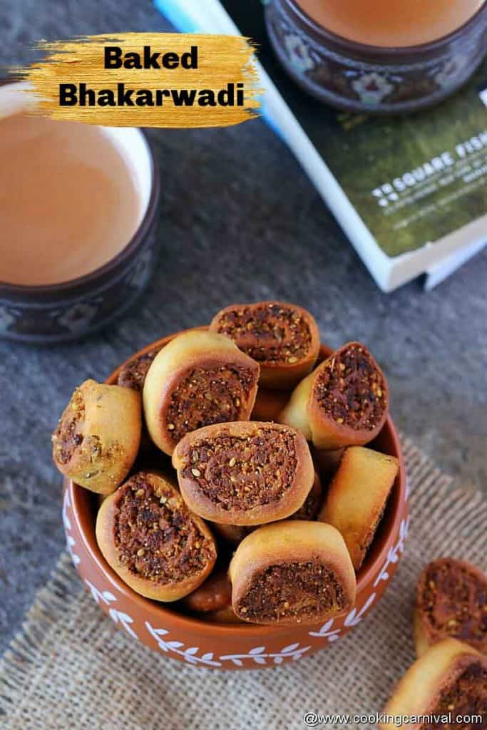baked bhakarwadi, masala tea on sides