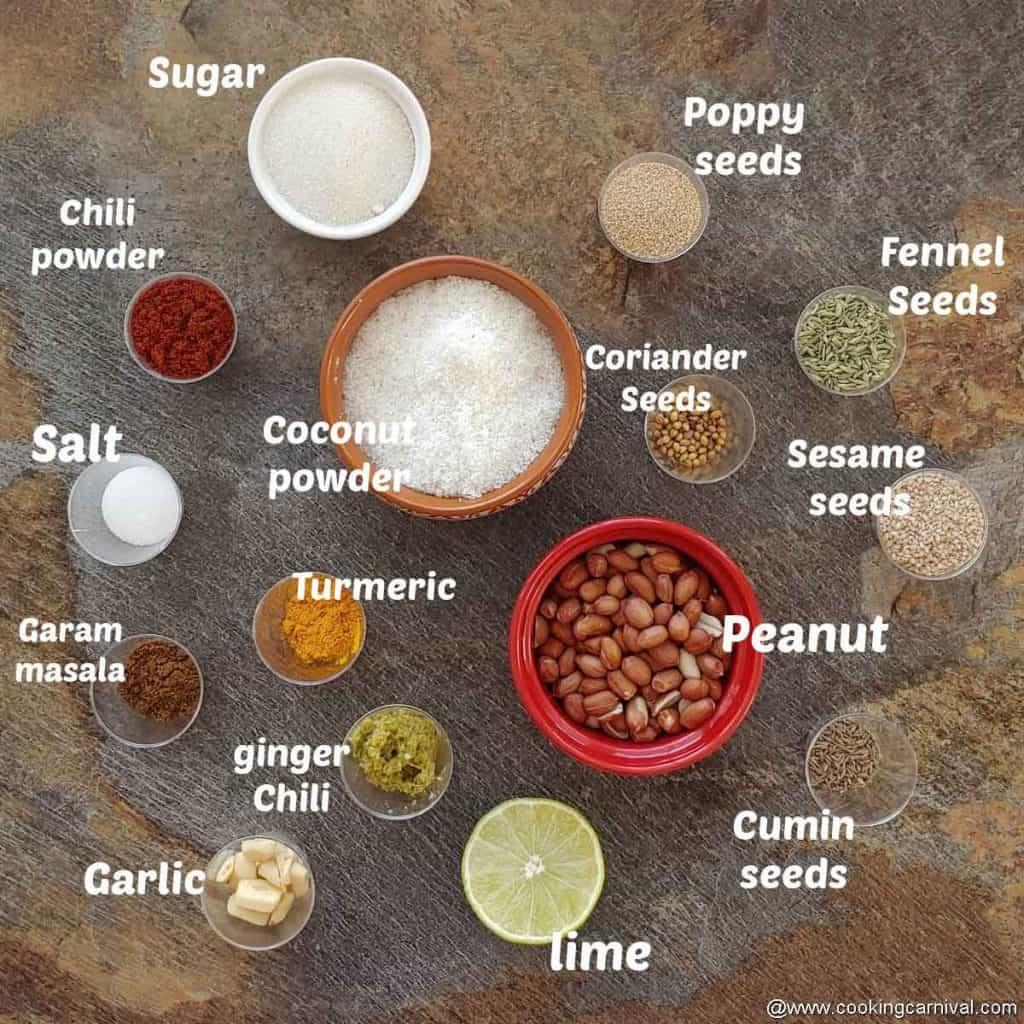Ingredients or bakarwadi stuffing