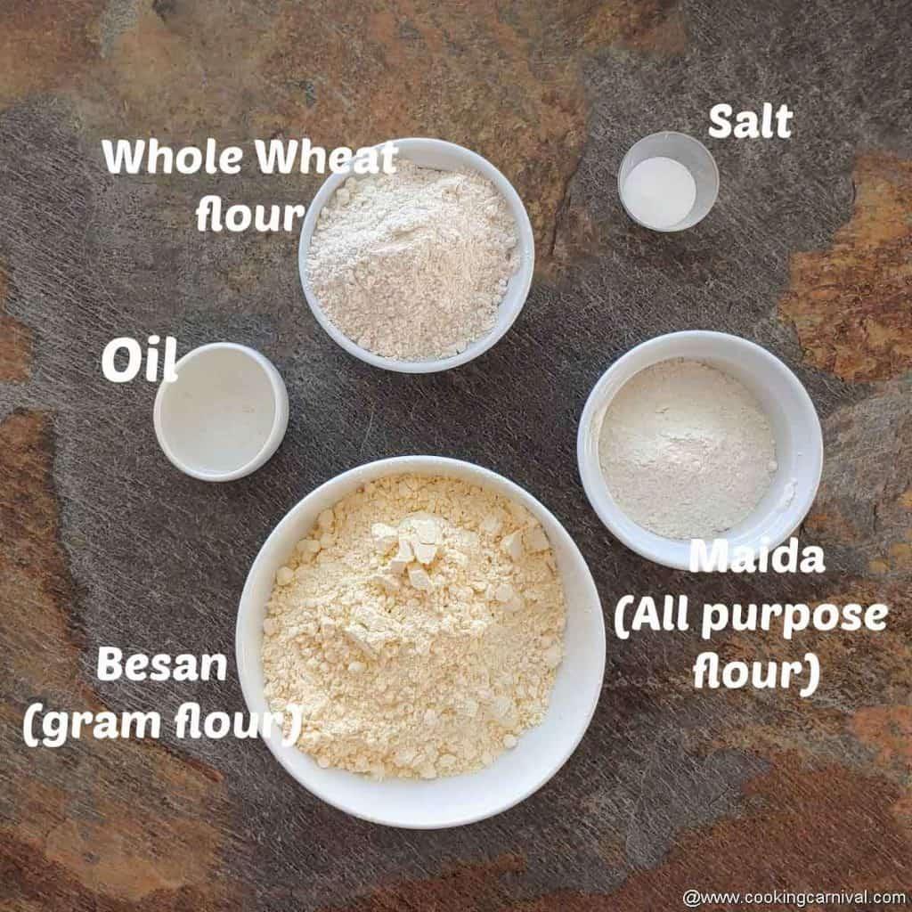 pre measured ingredients or bhakarwadi dough
