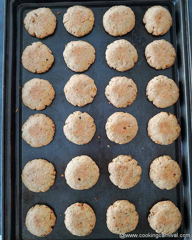 baked savory pizza cookies in a baking tray