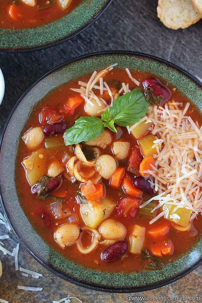 Bowl of Instant pot minestrone soup, rom top angle