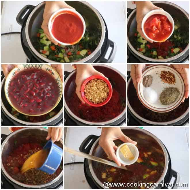 adding all the ingredients in the instant pot to make minestrone soup