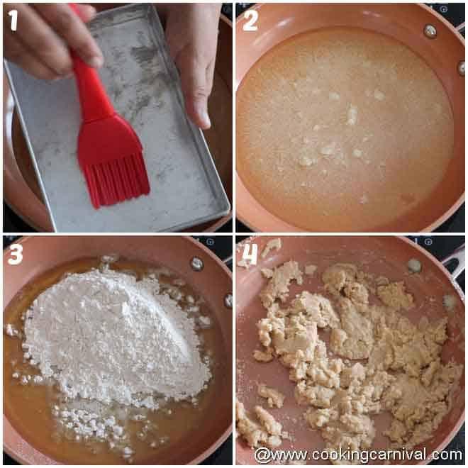 Roasting whole wheat flour in ghee