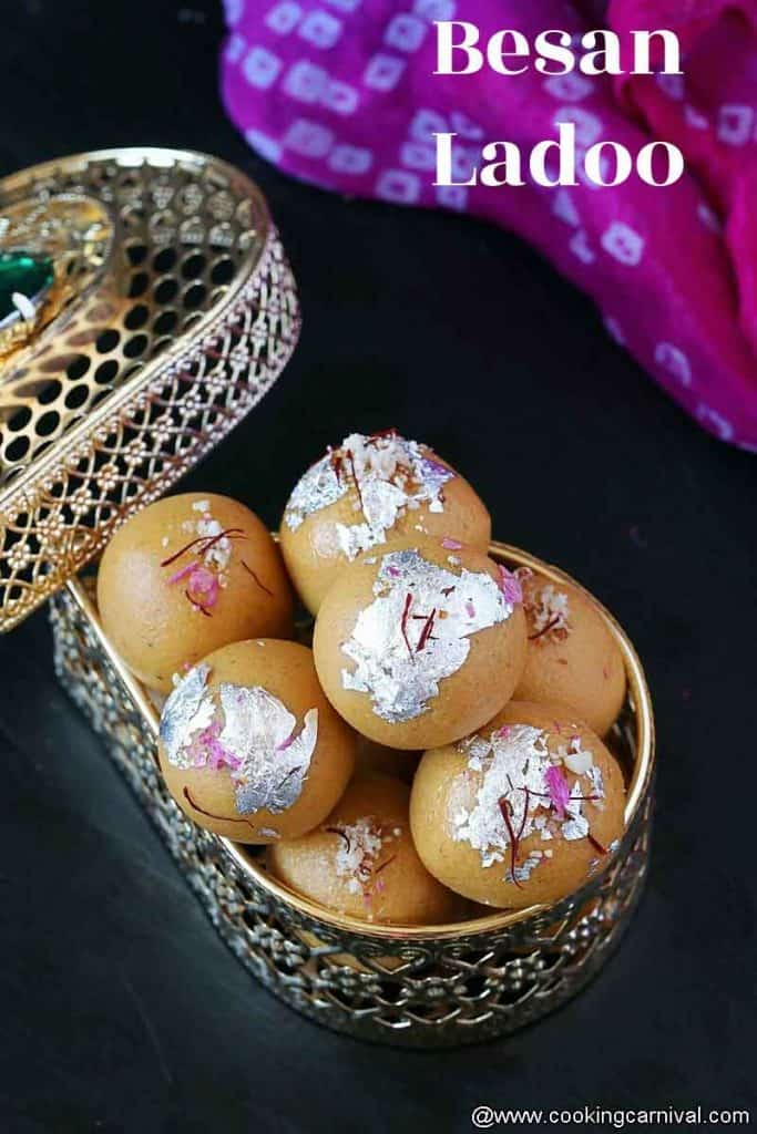 Besan ladoo in a triangle golden container