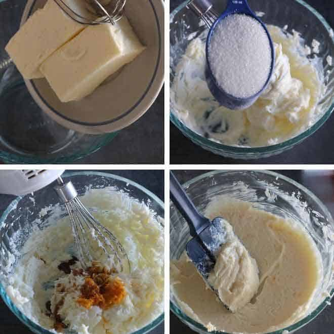 Adding sugar, est and vanilla extract in butter
