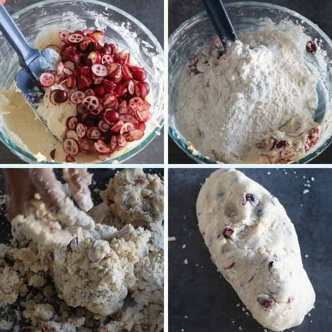 adding cranberry, flour in the butter sugar mixture