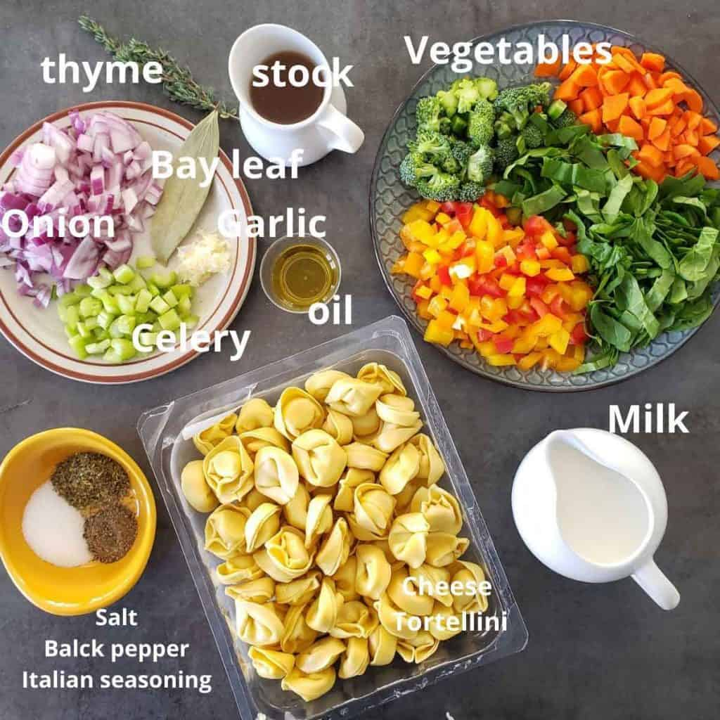 pre measured ingredients for tortellini soup