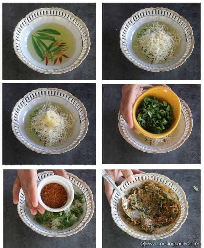 mixing butter, cheese, seasoning, garlic and cilantro