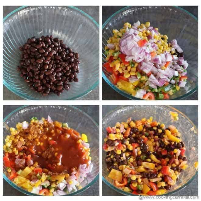 mixing vegetables, beans and enchilada sauce in a bowl