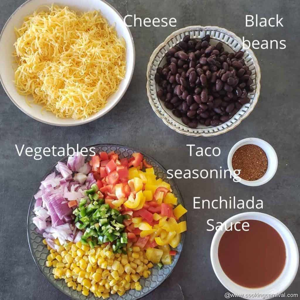 pre measured ingredients for beans and vegetables enchilada stuffing