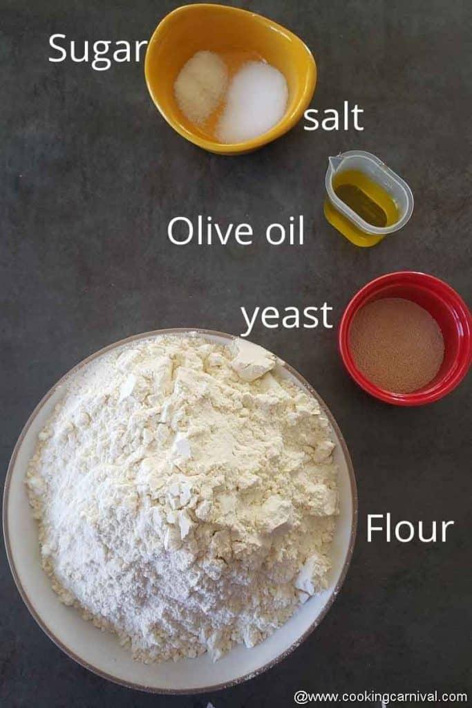 Pre measured ingredients for making Stromboli dough