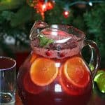 Non-alcoholic sangria in a pitcher