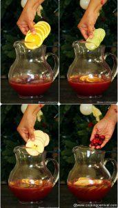 adding fruit slices to make Non-alcoholic sangria