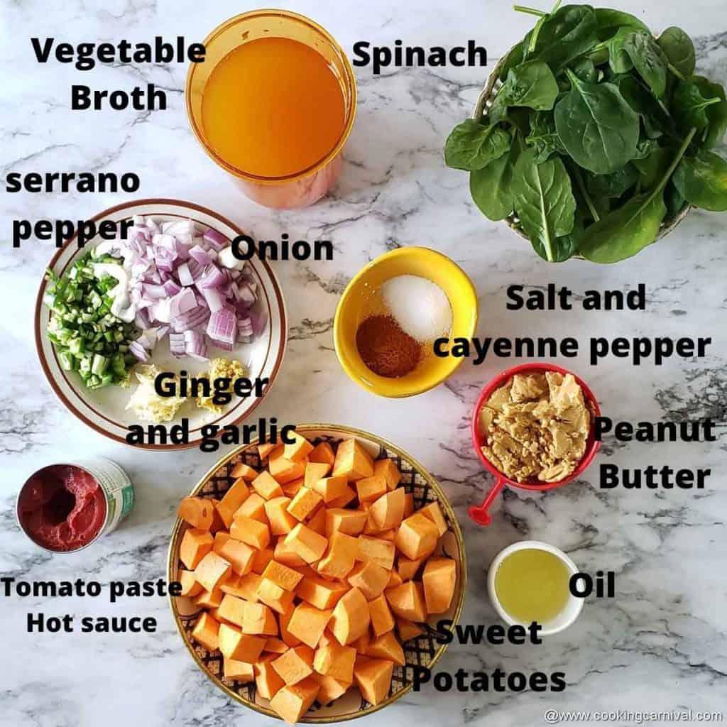 Pre measured ingredients for African peanut stew