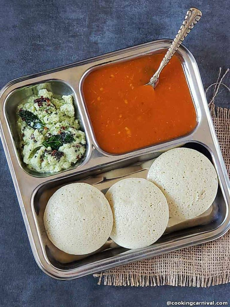 Quinoa Idli with rasam and chutney
