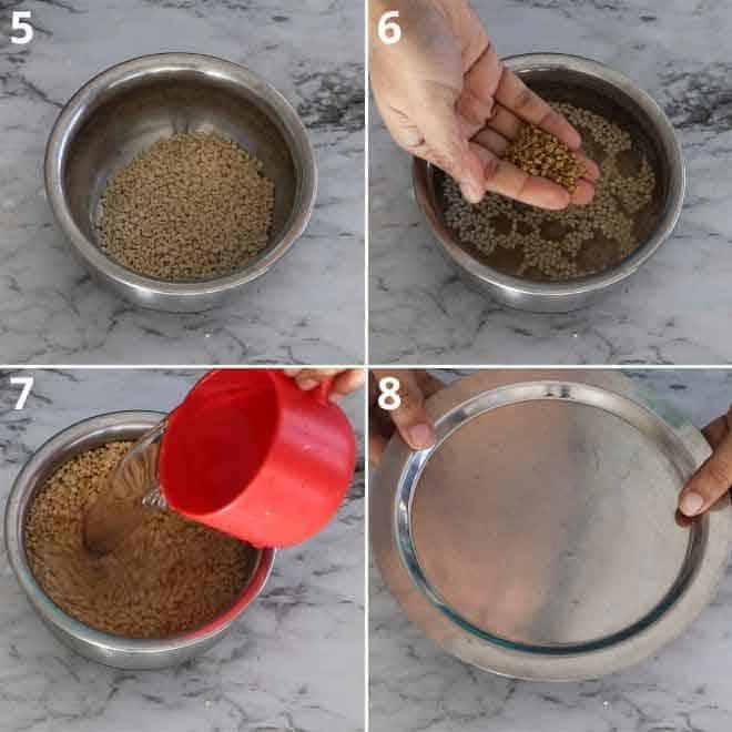 washing and soaking urad dal and fenugreek seeds