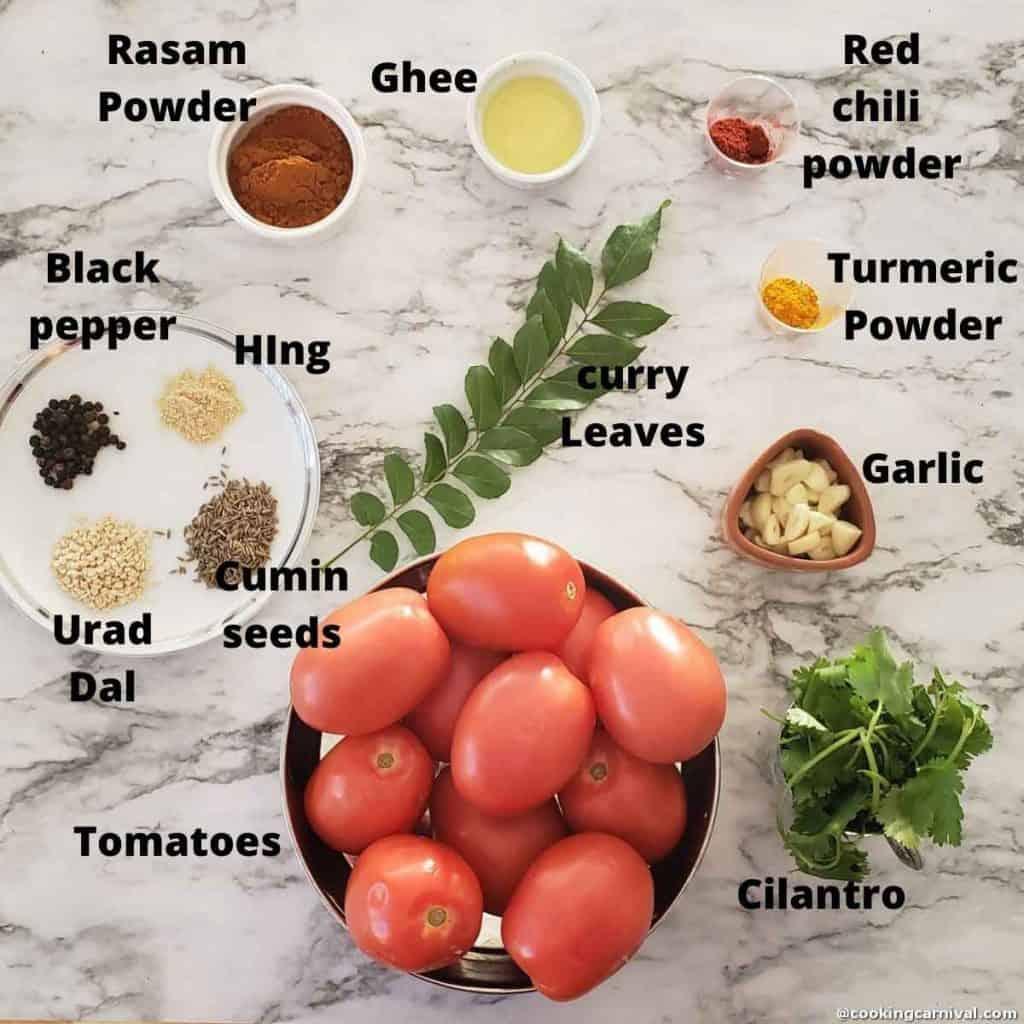 Tomato Rasam ingredients