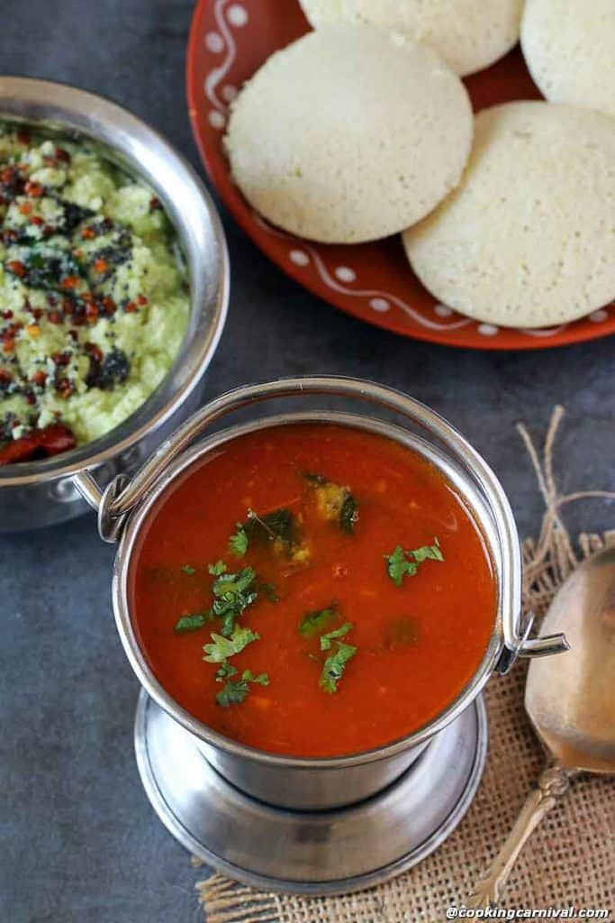 Tomato Rasam, quinoa idli on the sides