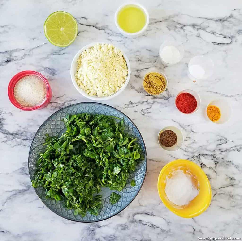 pre-measured ingredients for methi muthiya for undhiyu