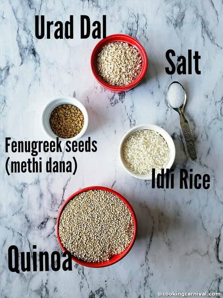 Pre-measured ingredients for quinoa idli