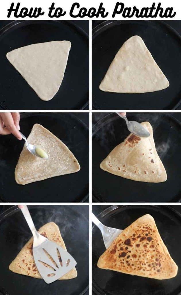 collage of cooking parathas on cast iron tawa