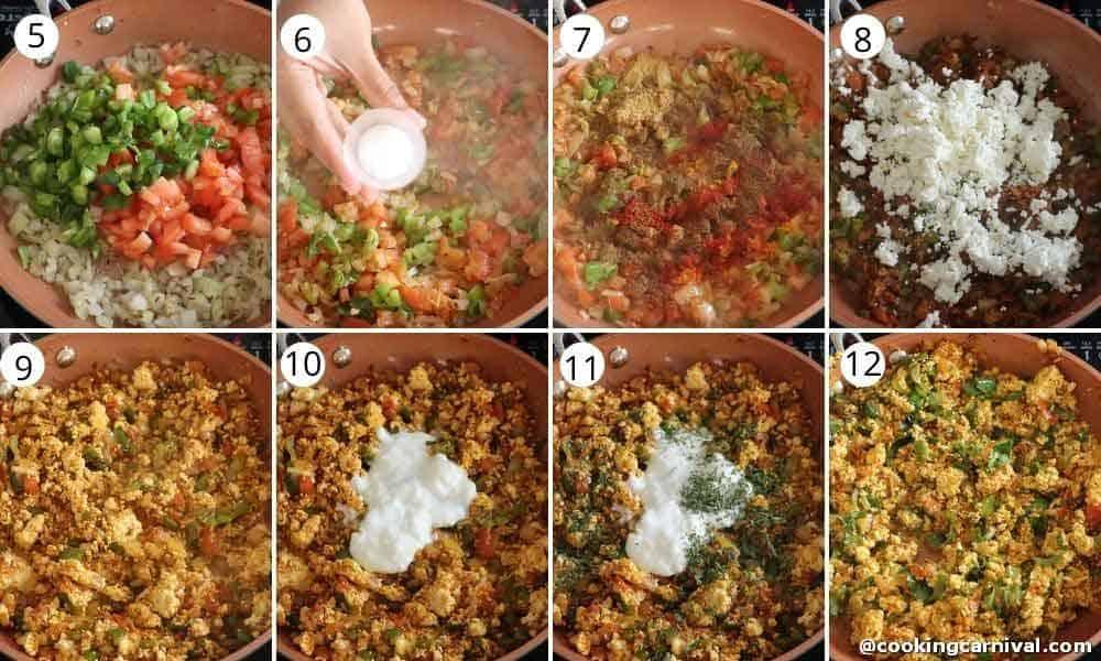 collage of making paneer bhurji