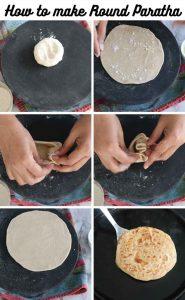 Collage of making round paratha