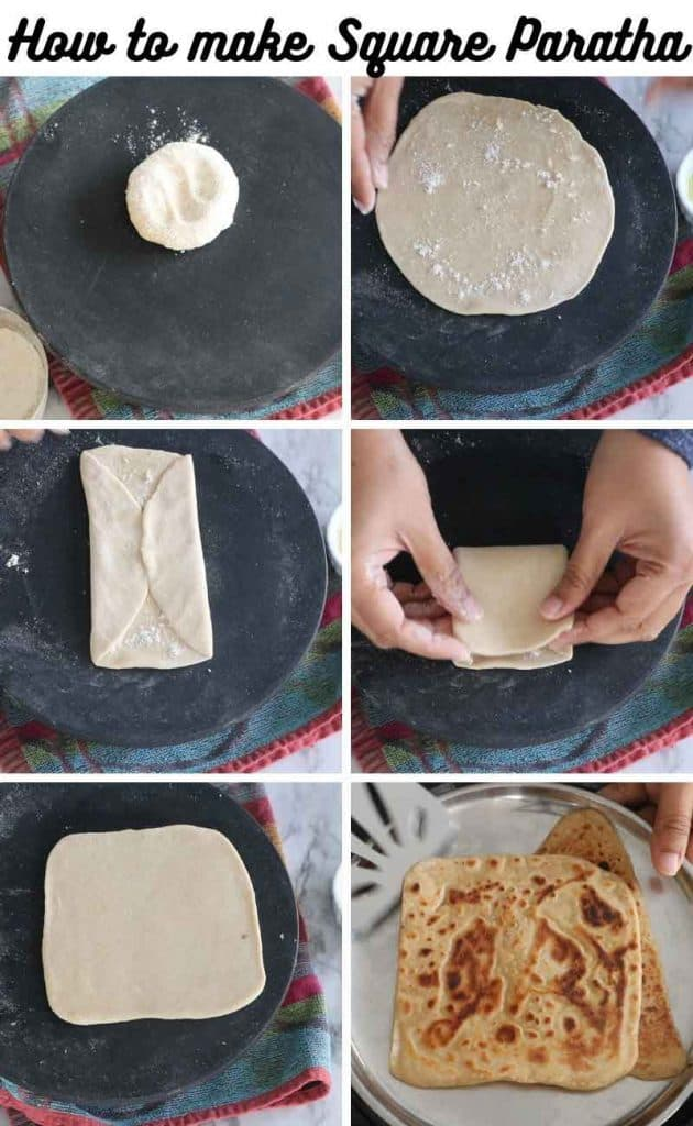 Collage of making square Whole wheat Paratha recipe