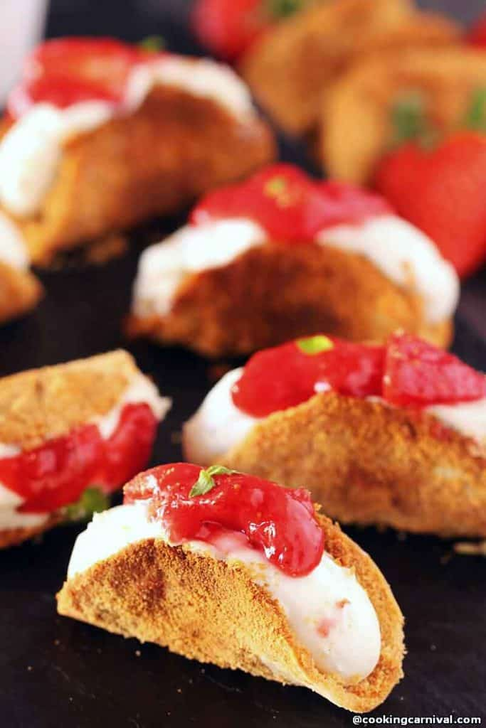 Strawberry Cheesecake Tacos  on black board