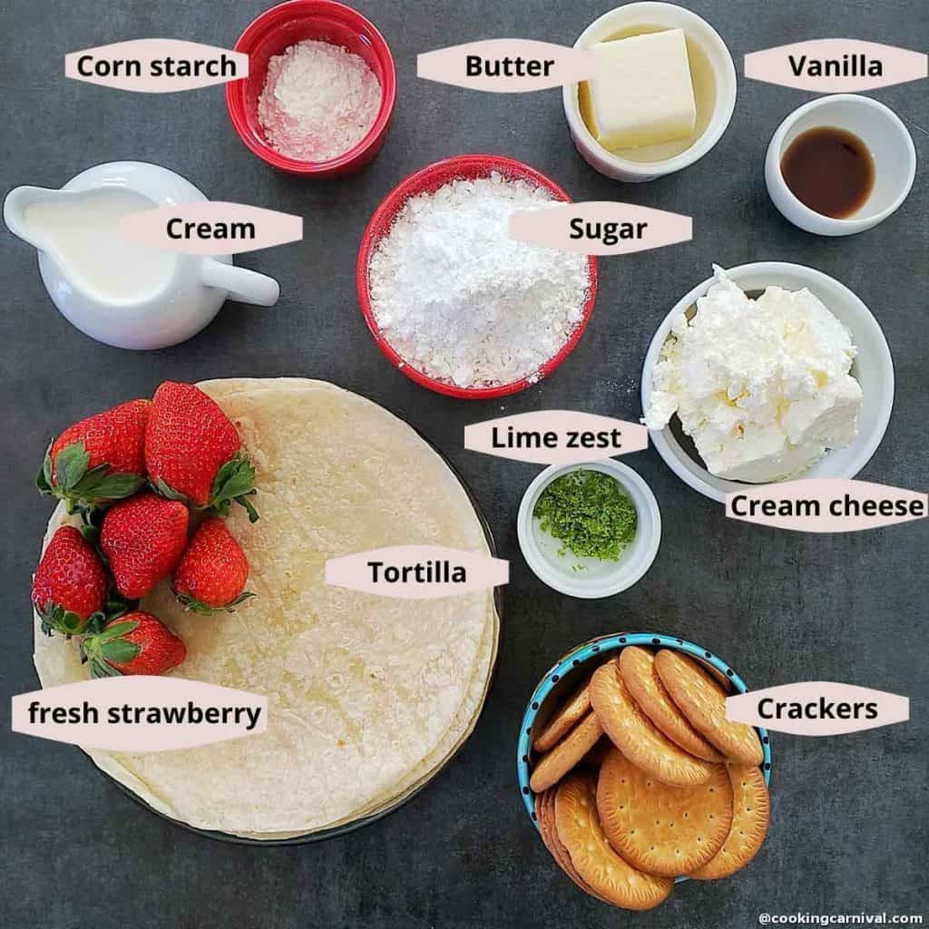 Strawberry Cheesecake Tacos ingredients