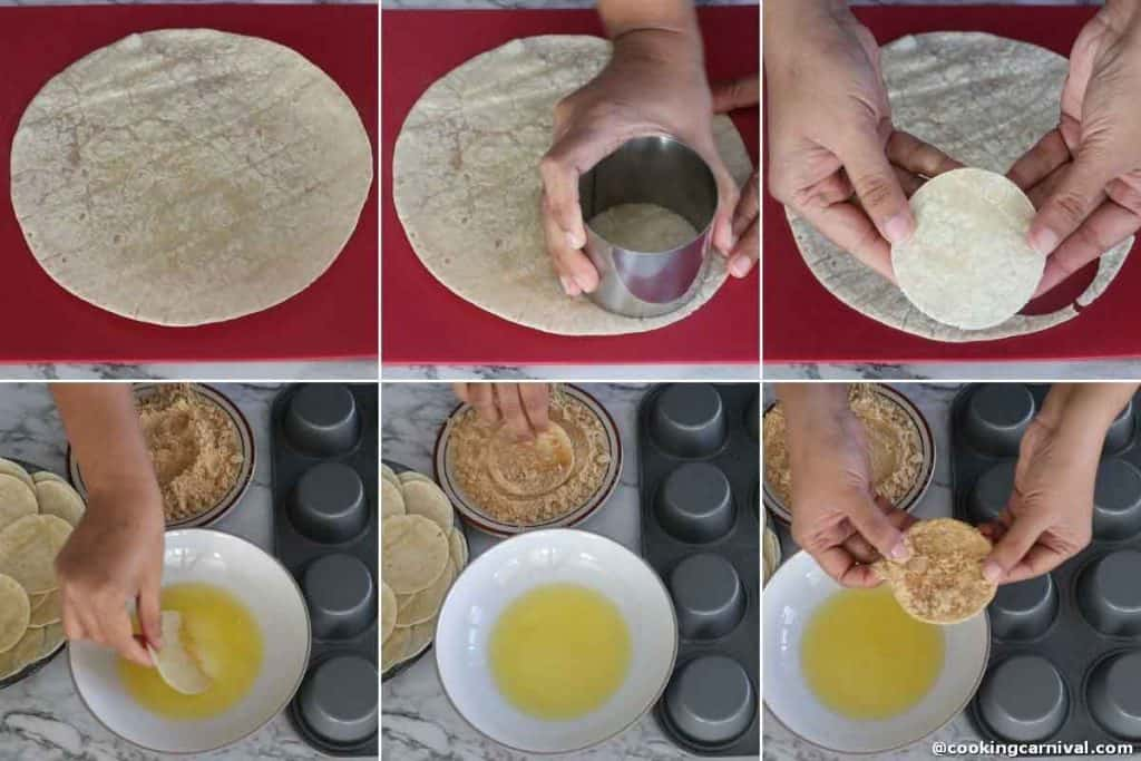 Making taco shell from torilla