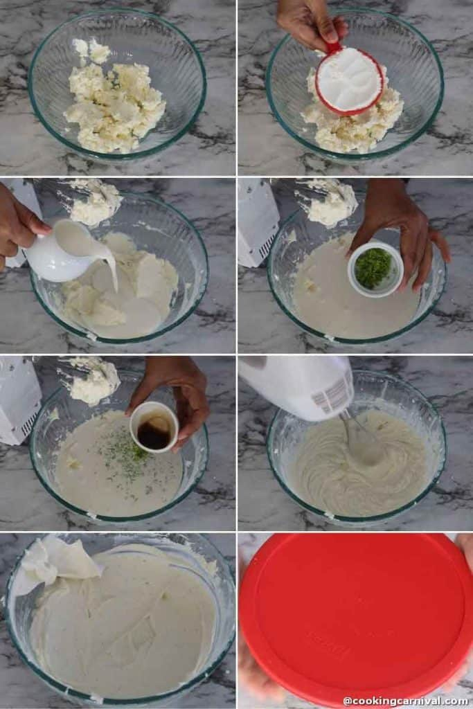 Making cheesecake filling