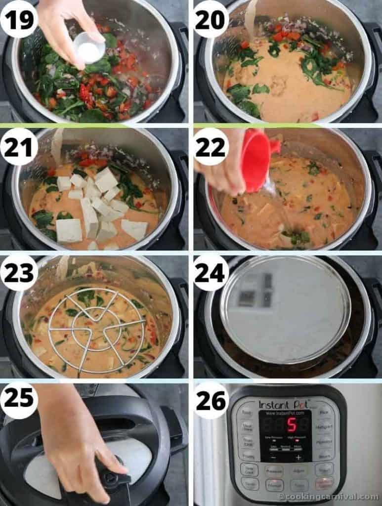 instant pot thai peanut tofu curry collage